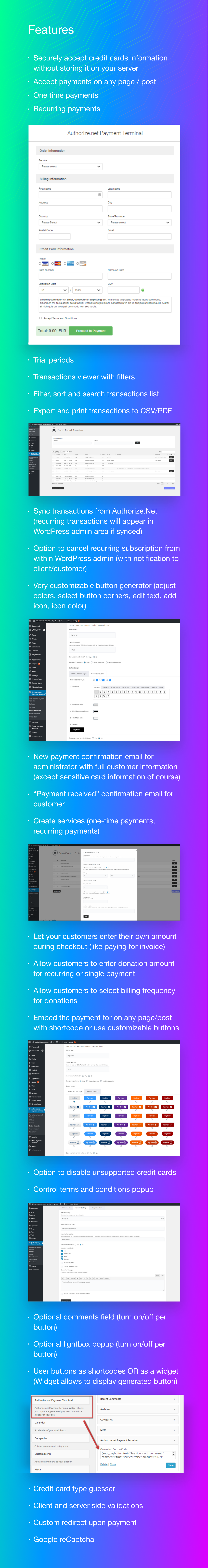 Authorize.Net Payment Terminal WordPress - 6